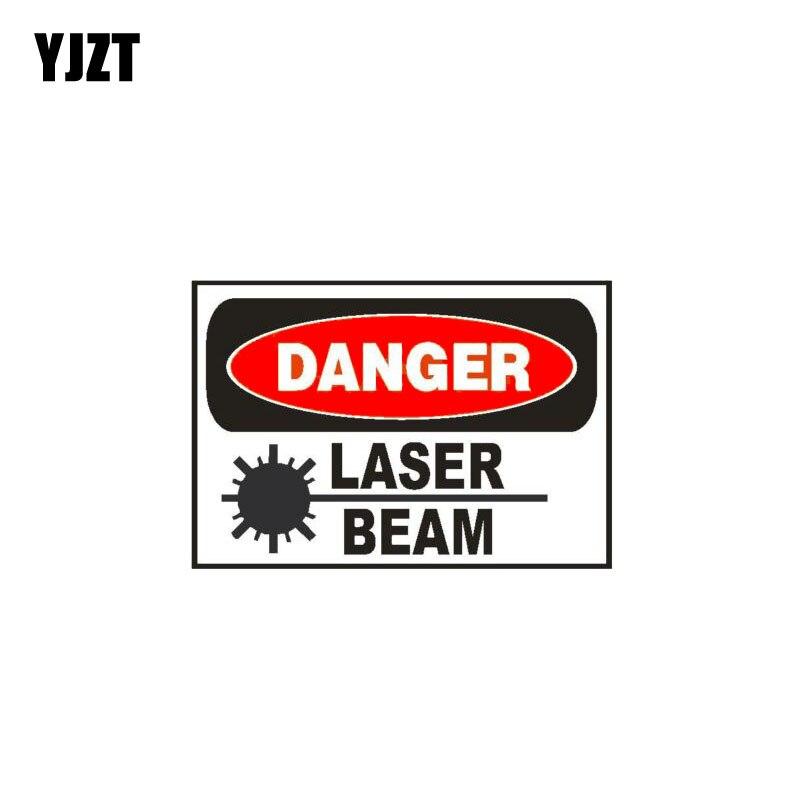 YJZT 10.5 CM * 7 CM Perigo Laser Beam Personalidade Etiqueta Do Carro Engraçado Decalque PVC 12-1057