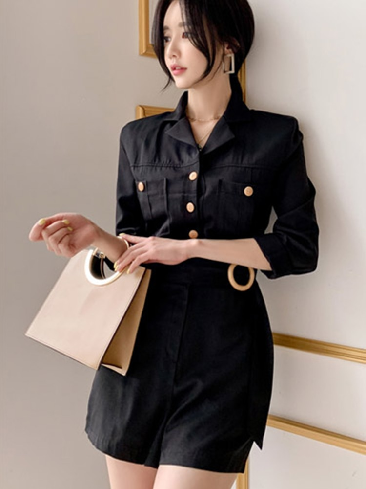 2019 Vintage fajas Short de mujer primavera otoño bolsillos botones corta mono Oficina overoles coreano