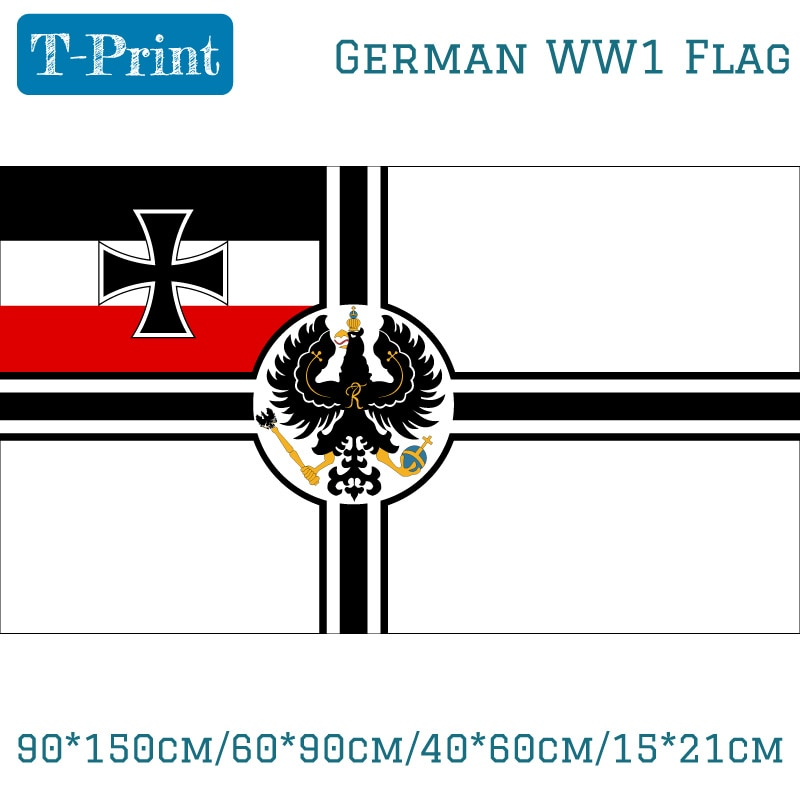 90*150 cm/60*90 cm/40*60 cm/15*21 cm alemán Imperial Alemania WW1 bandera Naval histórica 3x5 pies