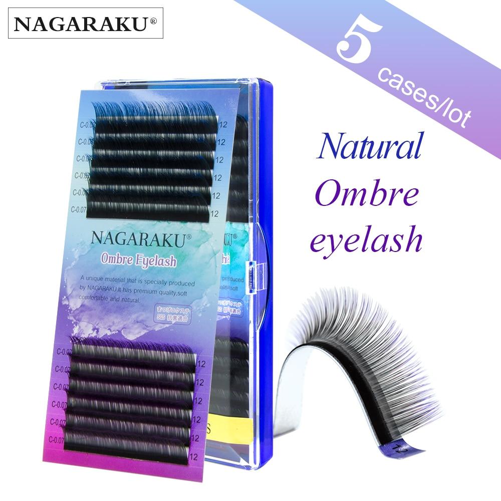 NAGARAKU-pestañas postizas Premium, 5 cajas por lote, Color púrpura degradado en azul y visón falso suave