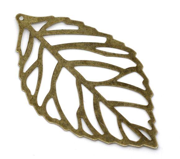 DoreenBeads Varejo Tone Bronze Filigrana Folha Charme Pingentes 54x32mm, vendido por pacote de 100