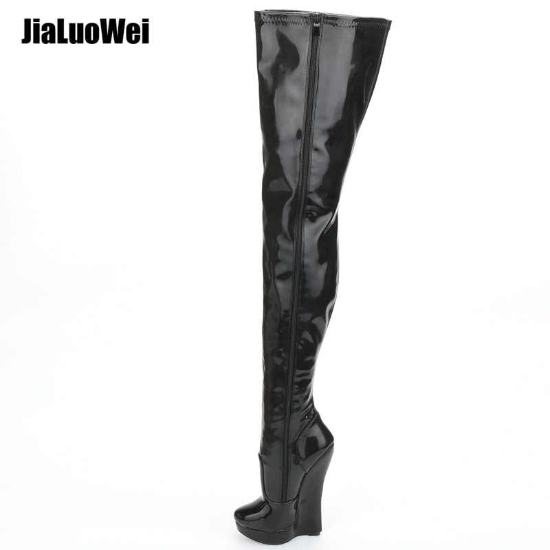 Jialuowei 2018 nova chegada 18 cm salto alto cunhas plataforma fetiche sexy deslumbrante magro sobre-o joelho coxa botas unisex mais tamanho