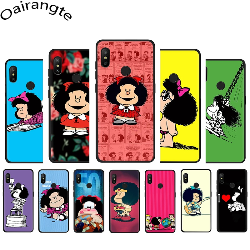 Funda de teléfono blanda Mafalda para Xiaomi Mi 6 8 A1 A2 5X 6X F1 9 9SE MAX 3