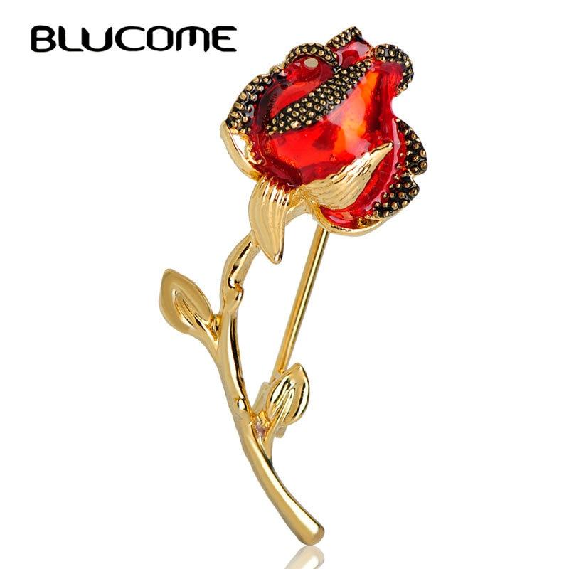 Blucome esmalte rojo rosa broches para las mujeres, oro color de ramo de novia con broche de Pin para Hijab traje accesorios de ramillete de flores