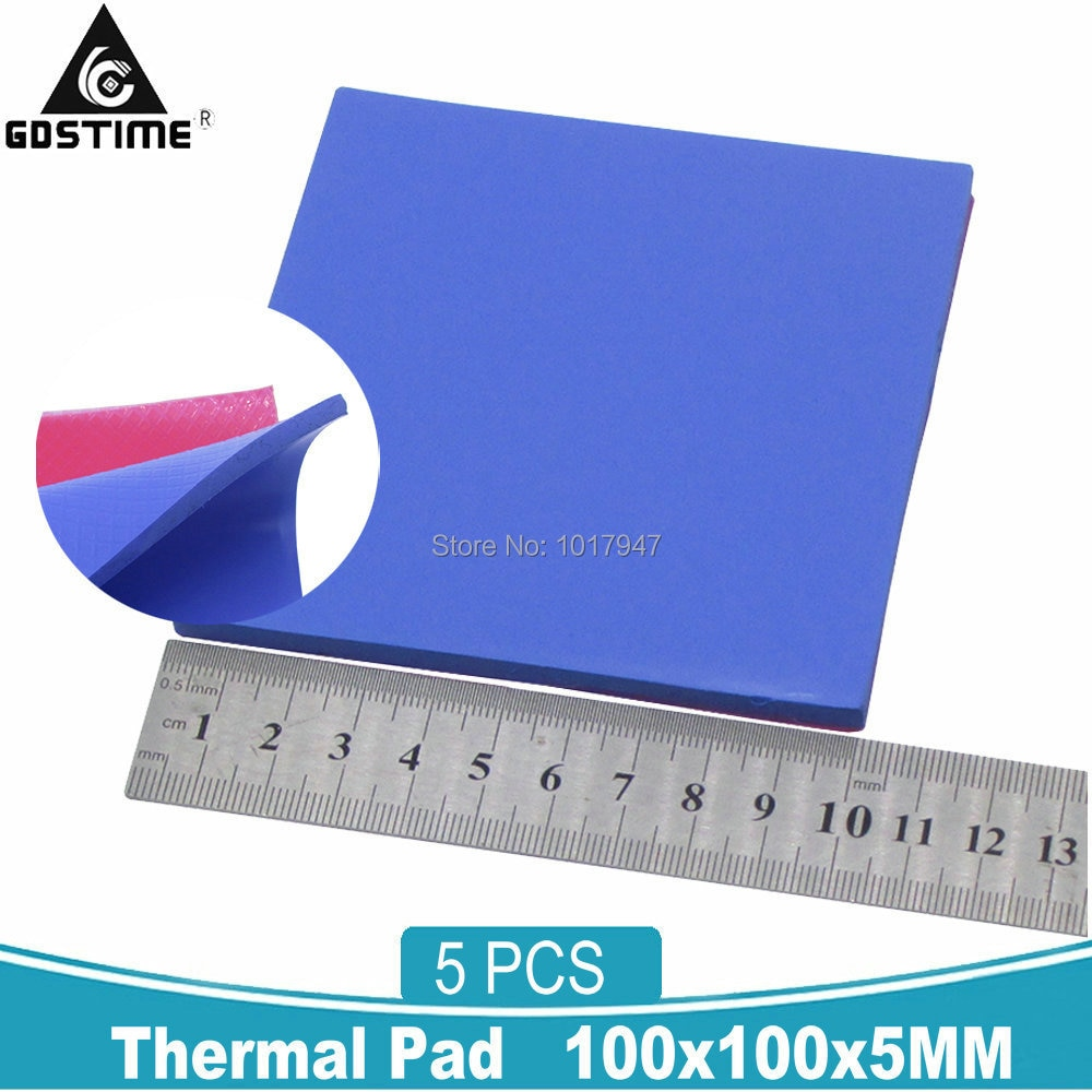 5PCS Gdstime 100x100x5MM Heatsink Cooling Silicone Thermal Pad Sheet 5MM Thermally Conductive Pads for Computer VGA IC CPU GPU 10 pcs to 220 silicone thermal heatsink insulator pads w insulating particles for lm78xx lm317 tdaxx