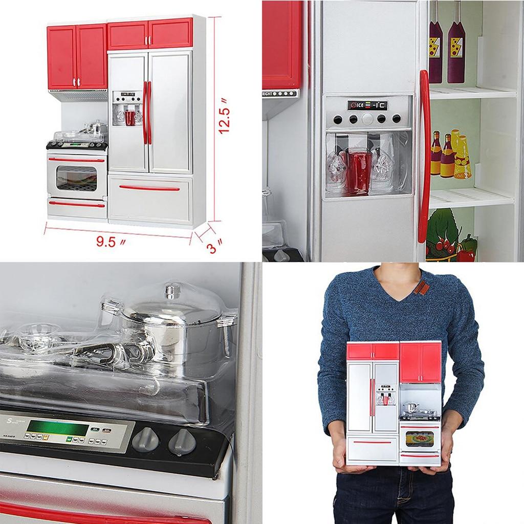 Детские ролевые игры, новый красный Мини кухонный шкаф, ролевые игры, кухонный набор, кухонная плита, детские игрушки для девочек, подарок T6 #