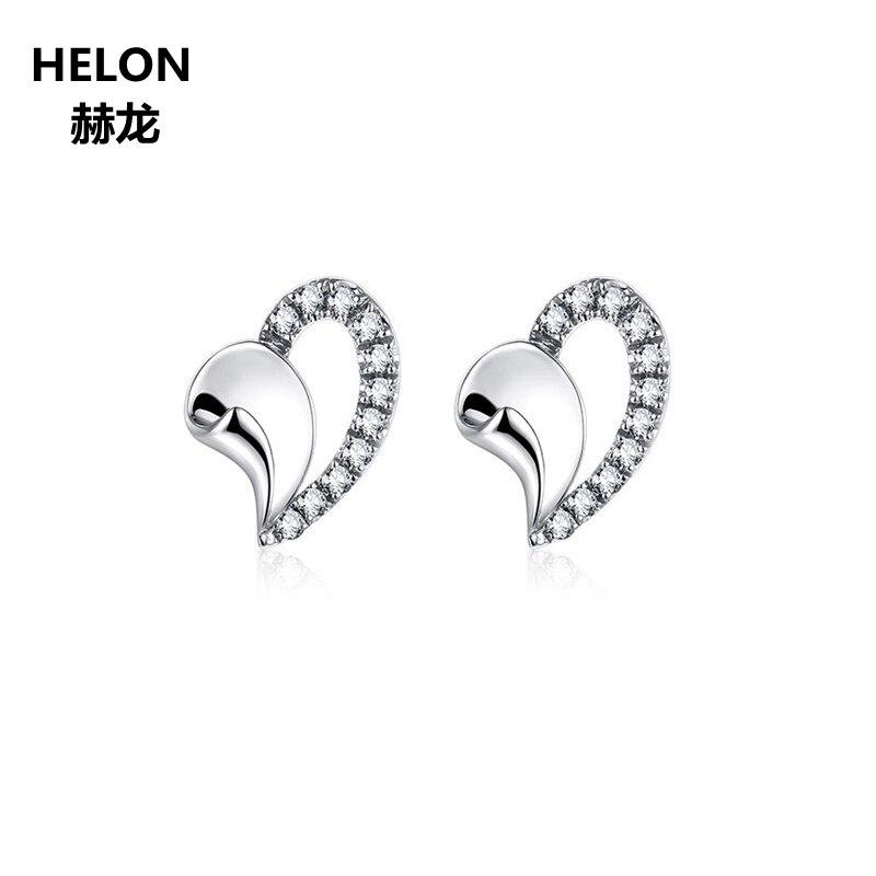 0,11ct SI/H pendientes de diamantes naturales con pasador sólido 14k oro blanco compromiso boda mujeres pendientes joyería fina