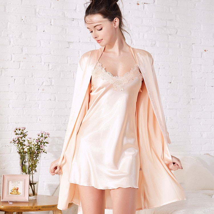 Pajamas spring and summer new simulation silk V-neck sexy strap nightdress loose robe suit comfortable soft home clothes enlarge