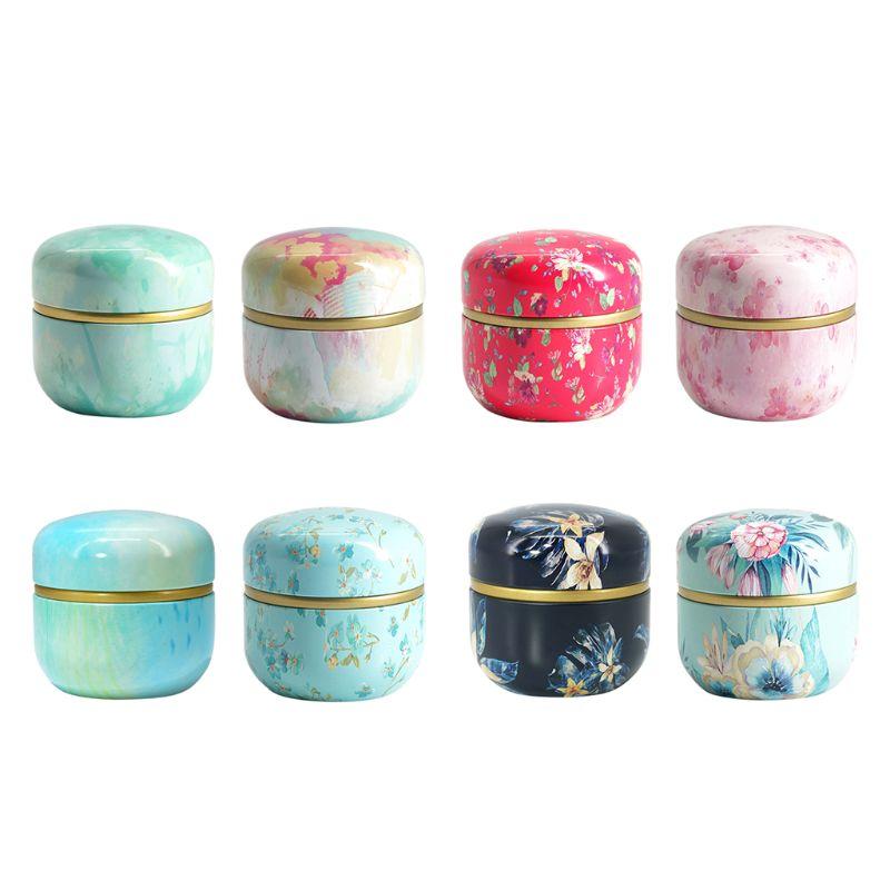 Mini caja de almacenamiento de dulces y café de lata de té suelto de flor, caja redonda de Metal, caja organizadora de recuerdo de boda, contenedor de estilo japonés