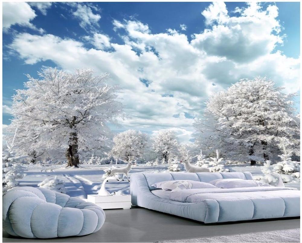 Пользовательские фото 3d обои для комнаты красивый зимний снег пейзаж живопись олень гостиная 3d настенные фрески обои
