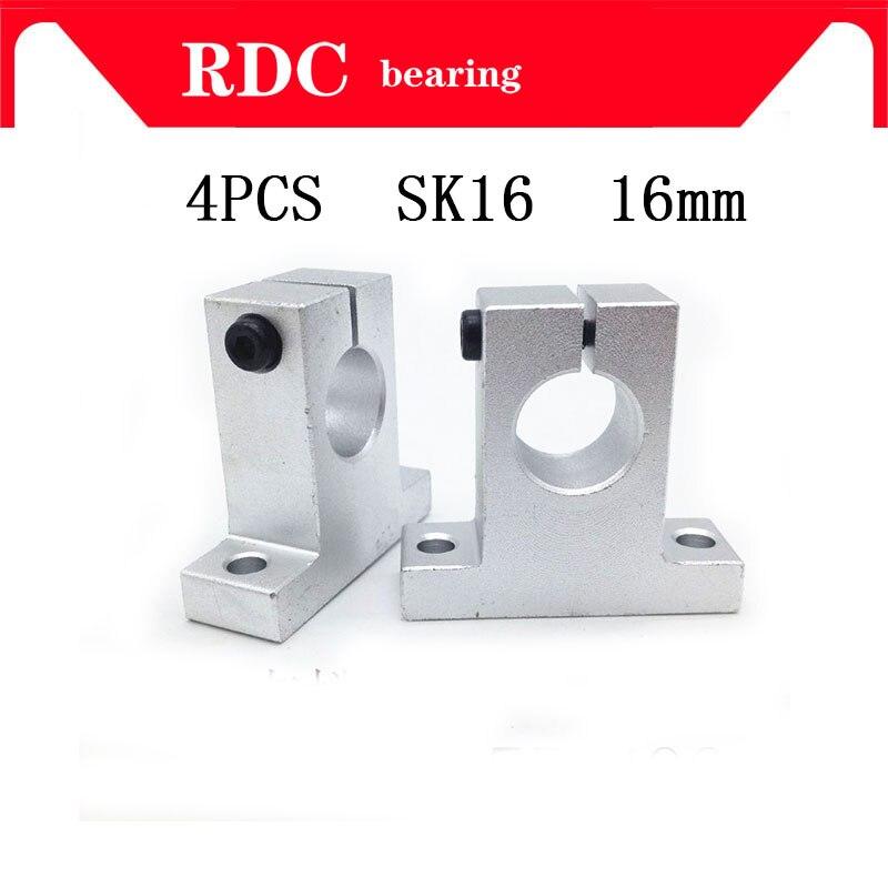 Envío gratis 4 piezas SK16 SH16A 16mm eje de alta calidad soporte eje lineal barra lineal enrutador CNC SH16A