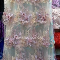 5 yards ysl001 3d applique flower pearls net tulle mesh lace for wedding evening dresshaute couture