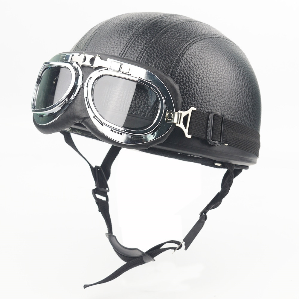 evomosa 55-62cm Motorcycle Helmet with Goggles Visor Scooter Motorbike Riding Jet Helmet for Retor Vintage Helmet