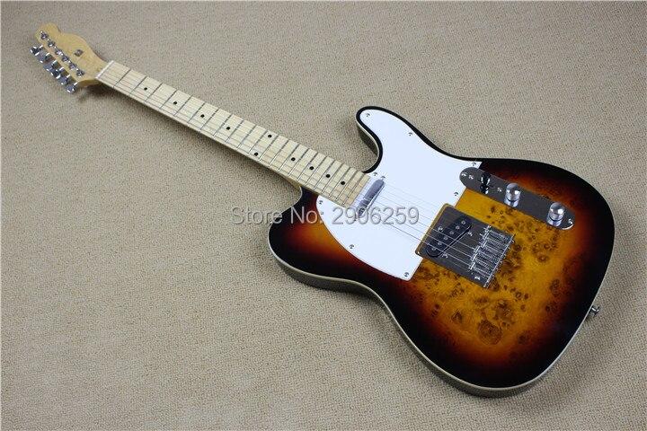 Hot Sale telecat electric guitar burl maple veneer basswood body Tl guitar ,vintage sunburst color chrome hardware high quality