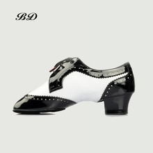 BD DANCE SHOES Latin Shoes Ballroom MEN Shoe Modern Cowhide Sole Non-slip BDDANCE441 Authent Black W