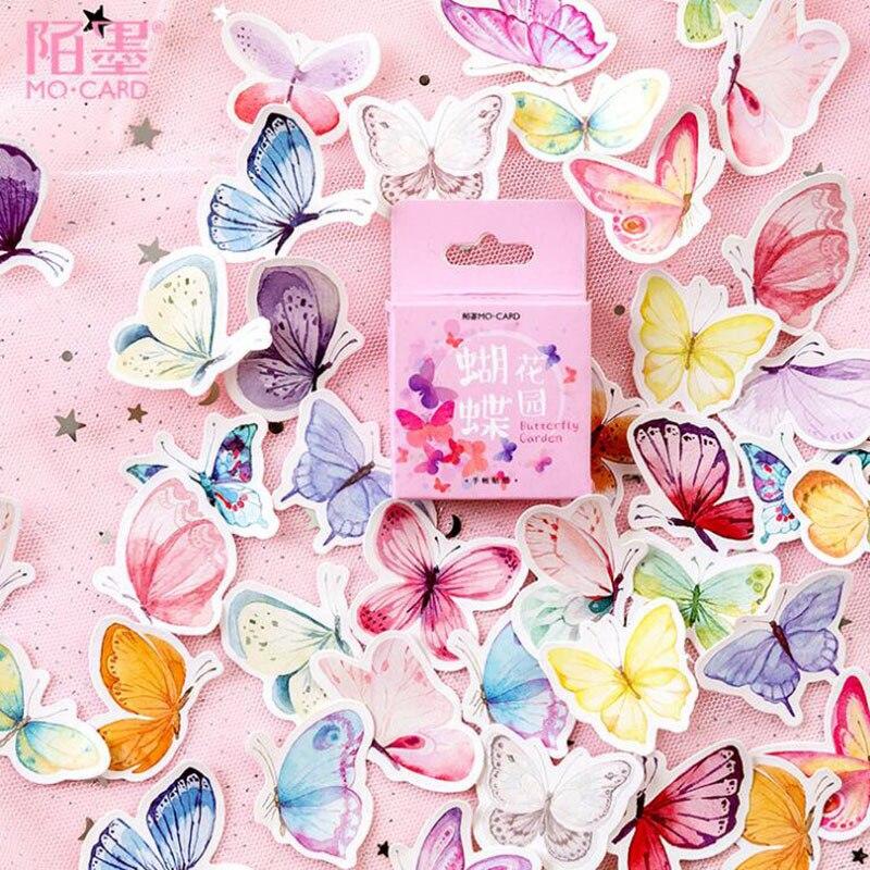 46 шт./кор. милые наклейки с бабочками, креативные канцелярские наклейки, милые клейкие наклейки для детей, дневник, скрапбукинг, фотоальбомы