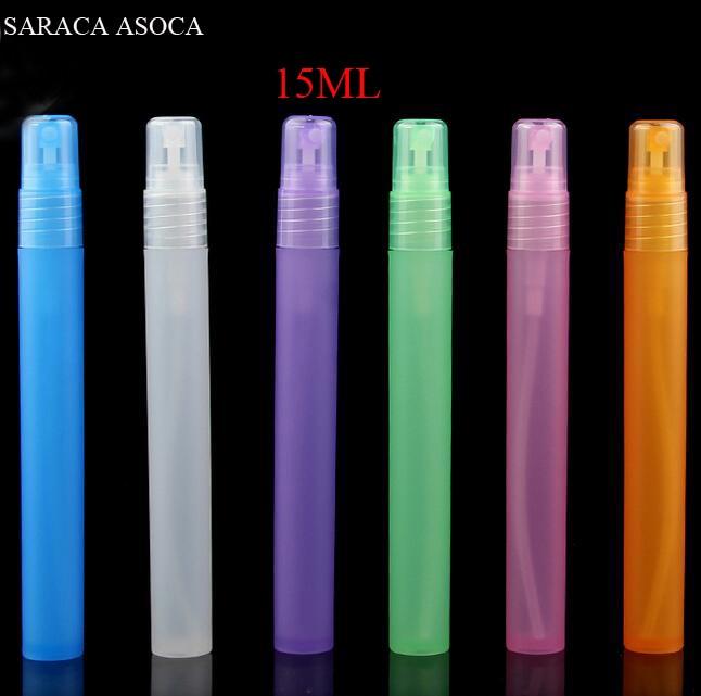 Atacado E Varejo de 15 12ml ml 100 pçs/lote Pulverizador frasco de Spray de Plástico Vazio Frascos de Perfume Recarregáveis Garrafa 6 Cor Clara