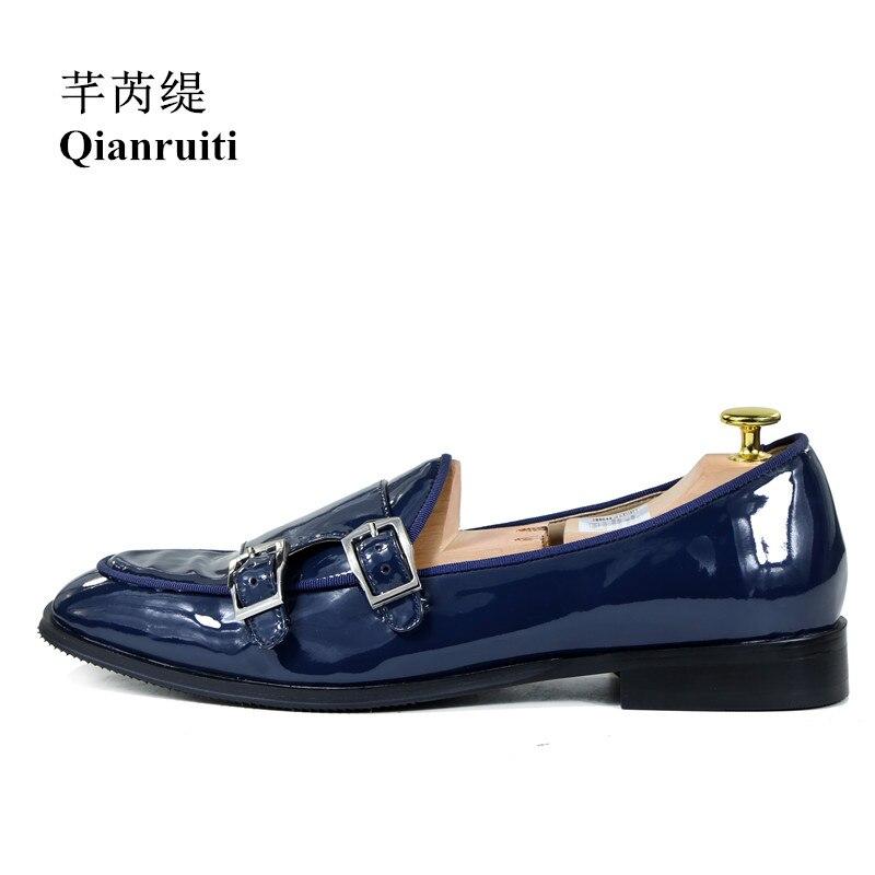 Qianruiti Italian Fashion Men Dress Shoes Slip-On Patent Leather High Quality Buckle Oxfords Business Wedding Dress Shoes