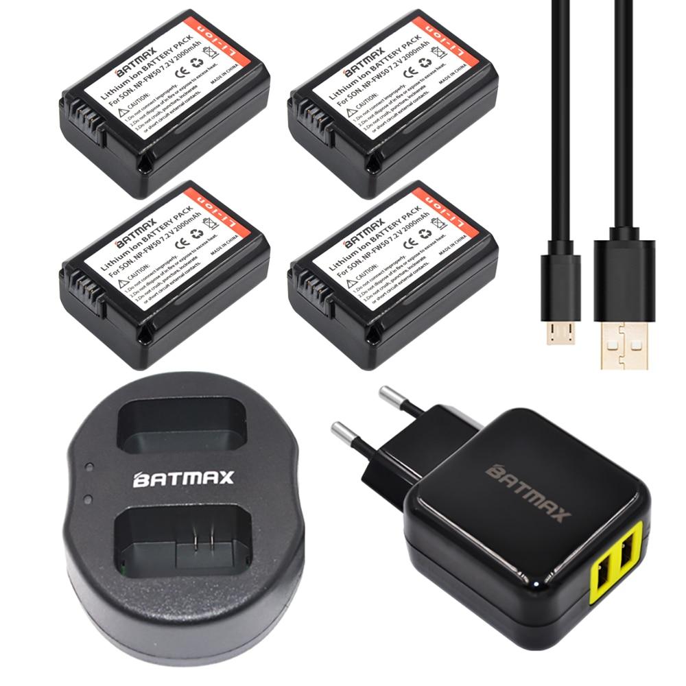 4 Uds 2000mAh NP-FW50 NPFW50 NP FW50 baterías + cargador Dual USB + adaptador de corriente AC enchufe Sony NEX-3 NEX-5C Alpha A55 NEX-C3