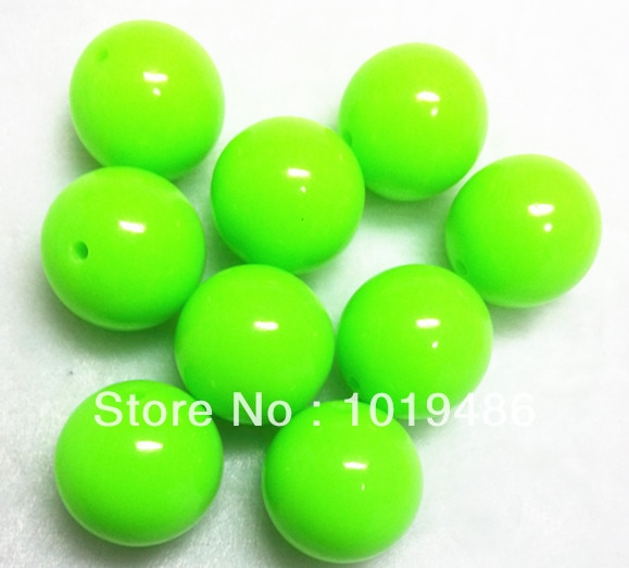 20mm 100 pçs/lote Luz Cor verde Acrílico Neon/Fluorescência Beads robusto, New Fashion Acrílico Contas Sólidos para jóias