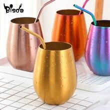 스테인레스 스틸 500ml 컵 골든 stemless 커피 머그잔은 제품 와인 칵테일 마시기기구 내성 피크닉 텀블러 컵