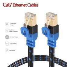 NAS Cat7 câble Ethernet réseau Internet LAN câble plat cordon avec maille de Fiber Double bouclier pour ordinateur de bureau portable routeur