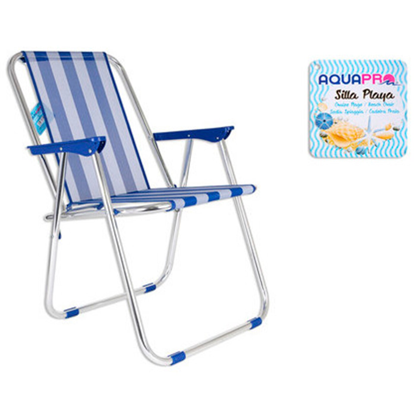 Beach chair aluminum with blue stripes