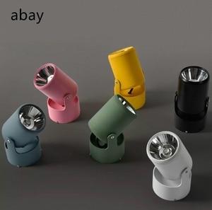 Adjustable zoom led small spotlight 5w/7w track installation / surface mounted cob mounted macarons spotlight 220V