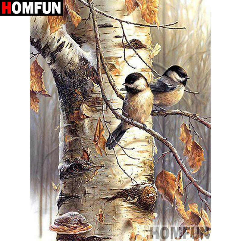 "HOMFUN Square Round Drill 5D Diamond Painting Environmental Crafts Full Diamond Embroidery ""Tree bird"" Home decor A00405"