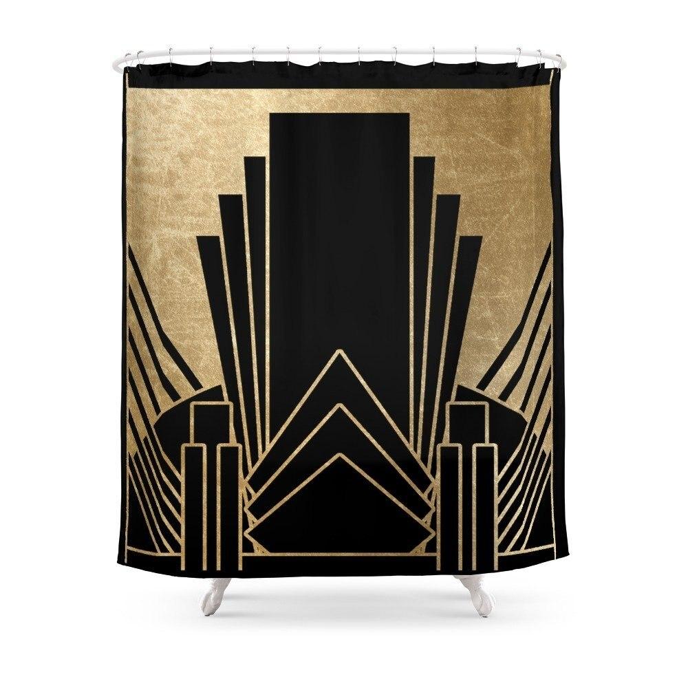 Cortina de ducha de diseño Art Deco, tela de poliéster, decoración para el baño, cortinas de ducha con impresión impermeable y ganchos