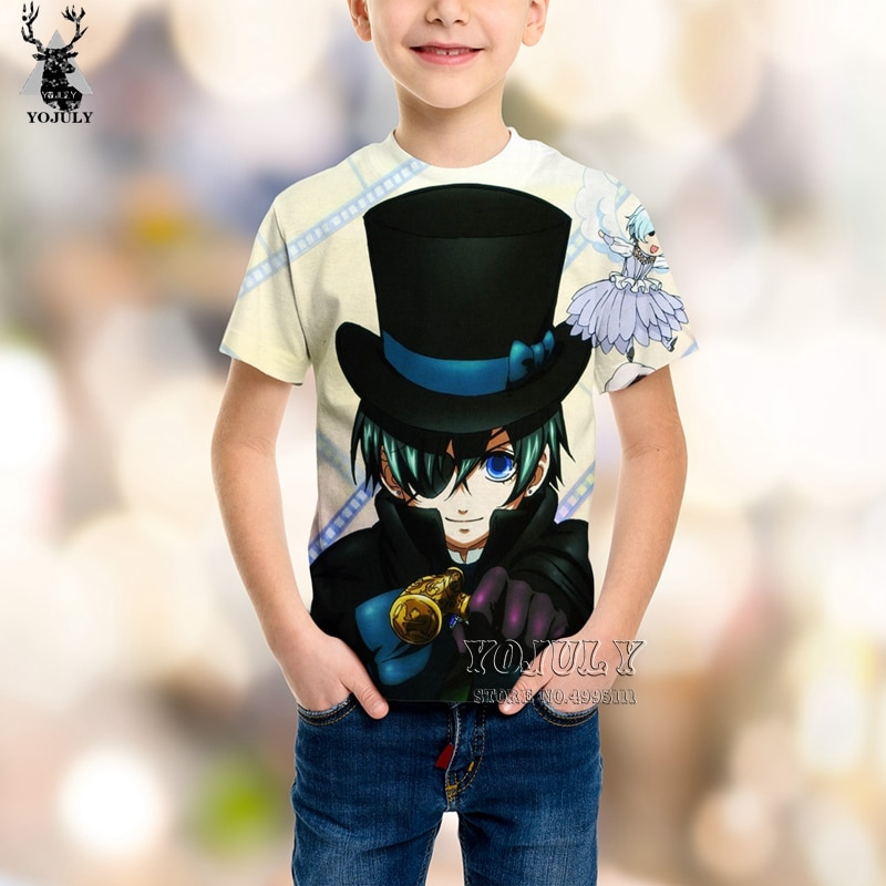 YOJULY 3D imprimir niños Anime negro Butler Sebastian Ciel niños camiseta Casual verano camiseta niño niña ropa Streetwear C58