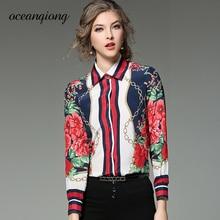 Floral Shirt Women Blouse Spring 2018 Fashion Women Blouse Shirt Floral Printed Long Sleeve Turn Down Collar Tops Lady Shirt