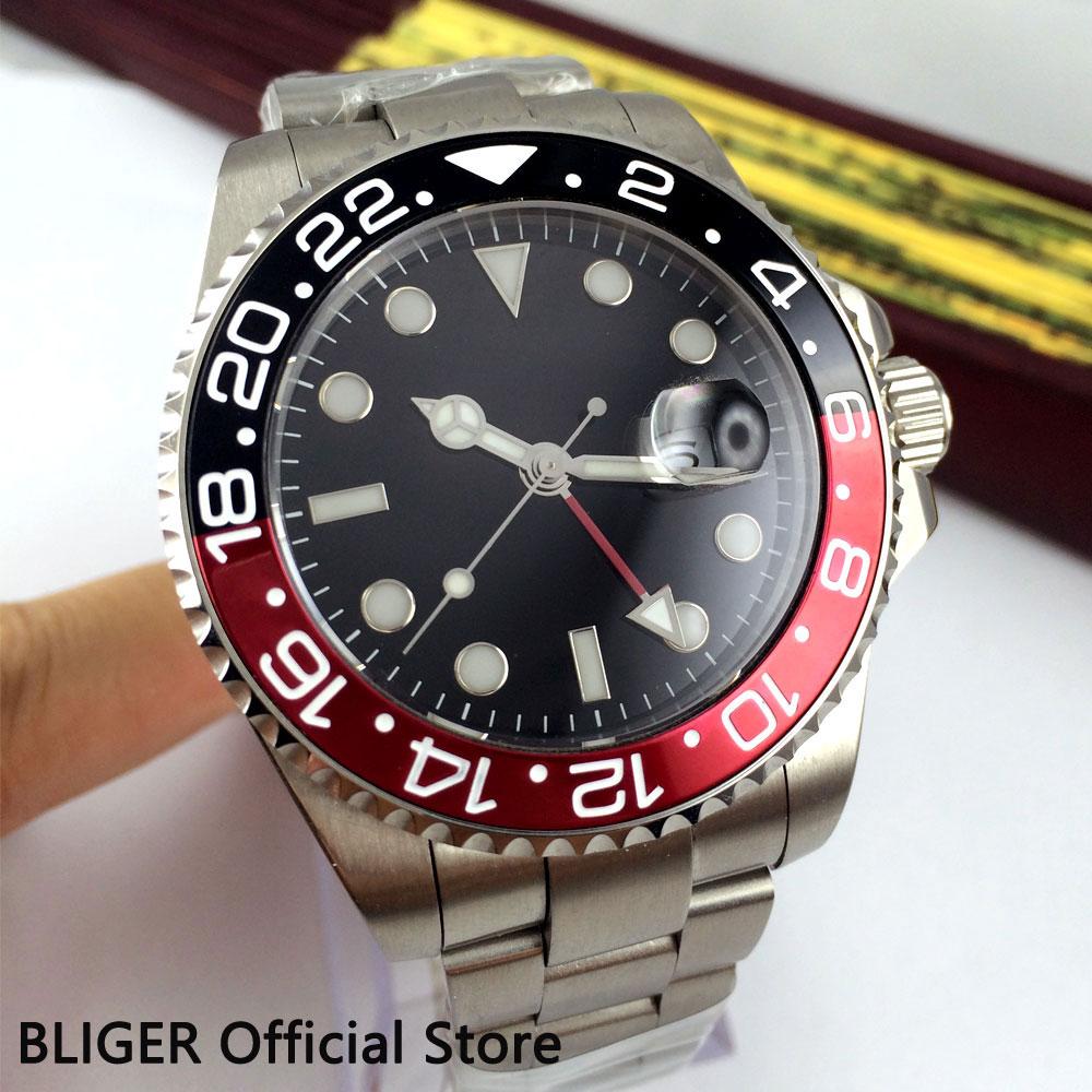 Bliger 43mm, reloj para hombre estéril de cristal de zafiro con esfera negra, fecha de función GMT, movimiento automático con bisel giratorio luminoso, B305