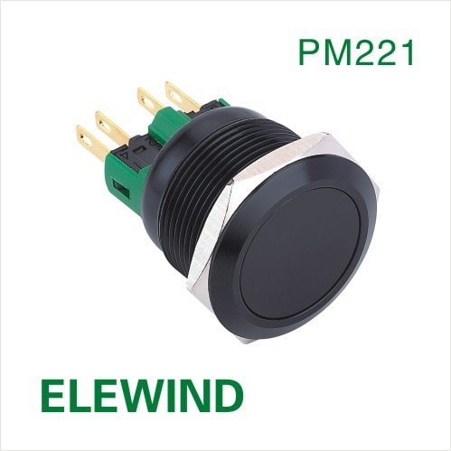 ELEWIND 22mm negro aluminio momentáneo botón interruptor (PM221F-11/A)