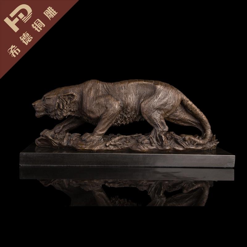Statue Sculpture Tiger Wildlife Art Deco Style Art Nouveau Style Bronze Figure LRG Garden Decoration 100% real Brass Bronze