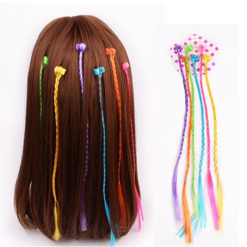 6 pçs meninas coloridas perucas rabo de cavalo ornamento de cabelo grampo de cabelo garra hairbands headwear crianças acessórios de cabelo cabeça banda