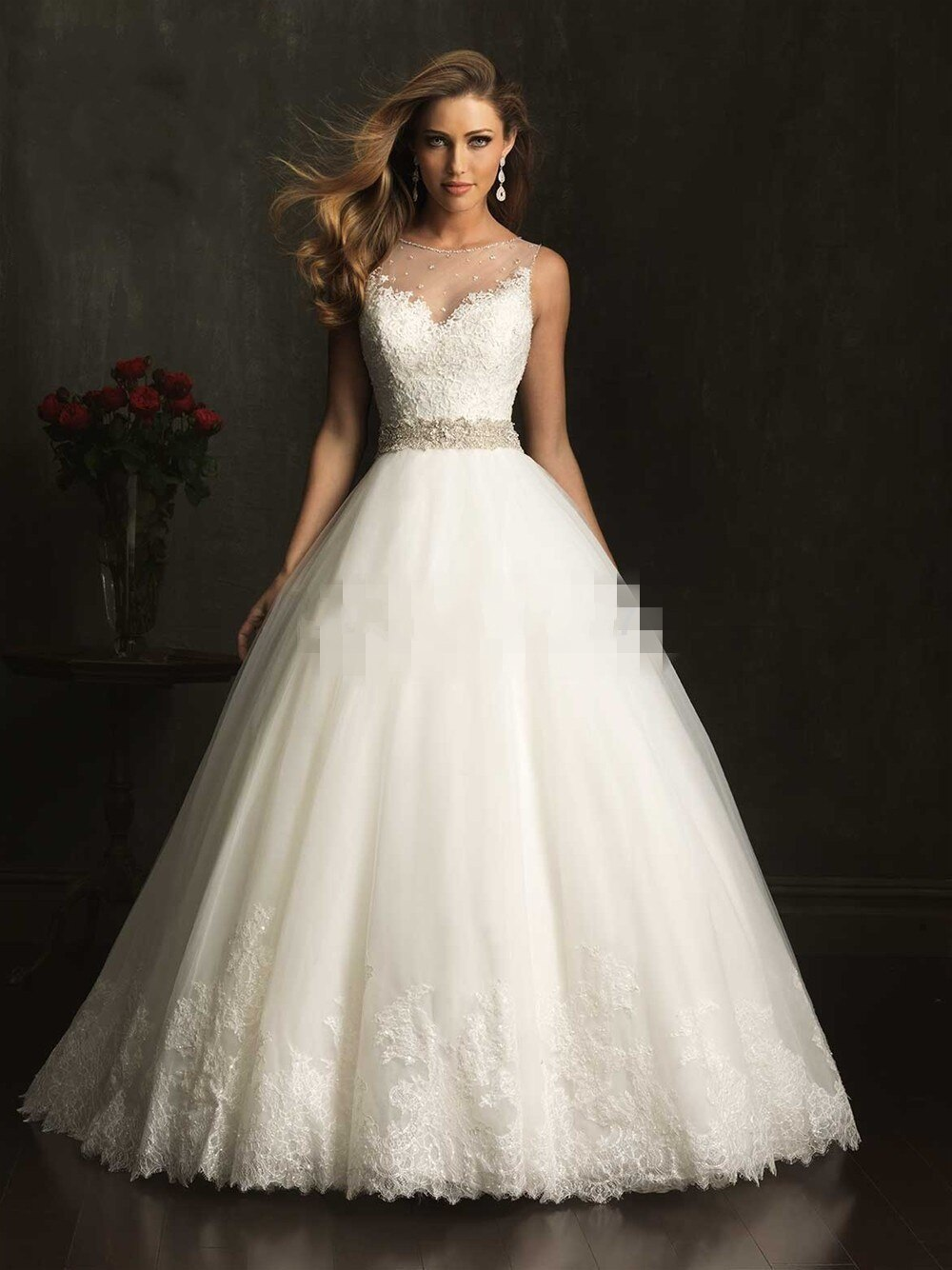 Vestido de novia de tul suave, elegante, con apliques, hecho a medida,...
