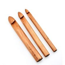 Énorme taille 15/20/25mm en bois Crochet crochets bambou épais fil aiguilles à tricoter femmes bricolage écharpe chapeau tapis outil de tricot accessoire