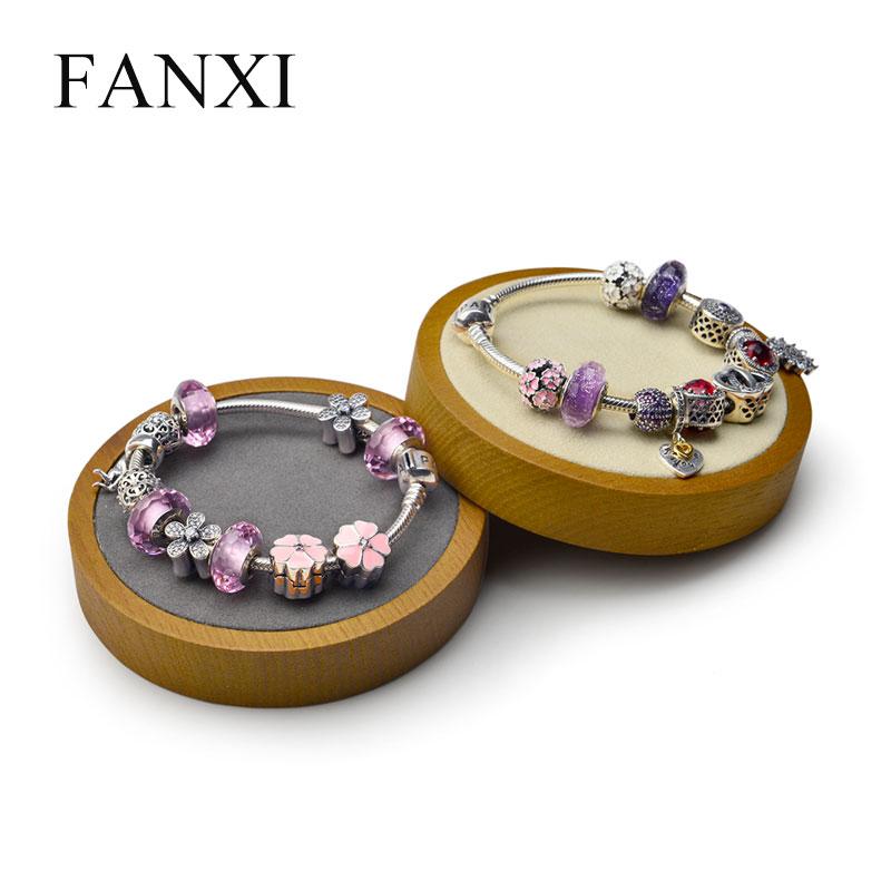 FANXI brazalete de madera maciza, expositor de relojes, soporte multifuncional para joyería, forma redonda con microfibra para exhibición