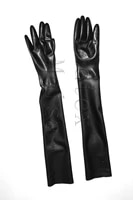 100 natural lingerie long five finger zentai latex gloves in black color for adults
