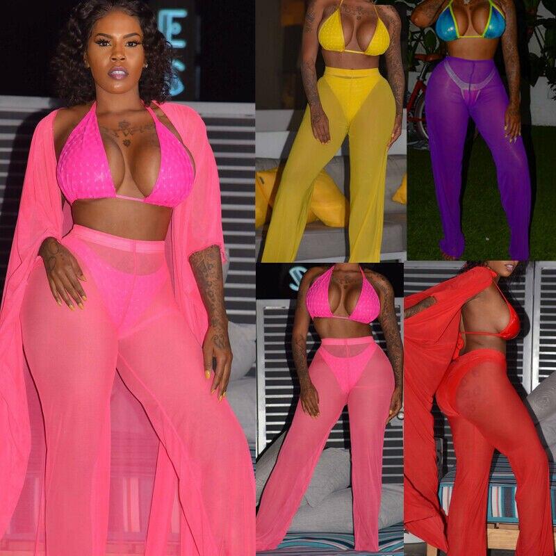 6 cor sólida malha calças de biquíni feminino cobrir calças 2019 verão plus size alta wiast praia maiô malha calças sheer