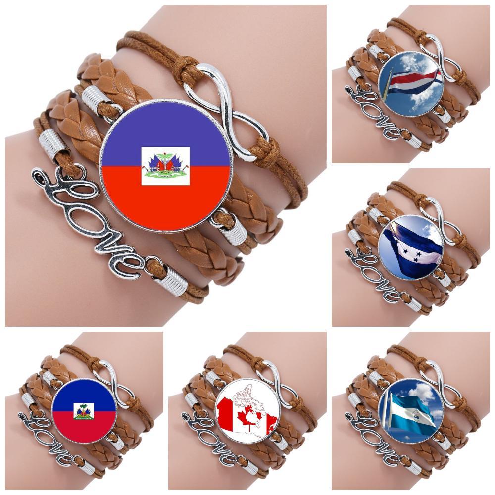 Pulsera de cuero negro/marrón multicapa con Logo de la bandera de Haití y Honduras y Canadá hecha a mano para niñas al por mayor