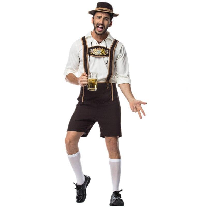 2019 New Style Adult Male Traditional Oktoberfest Costume Lederhosen Bavarian Octoberfest German Beer Mens Costume for Sale