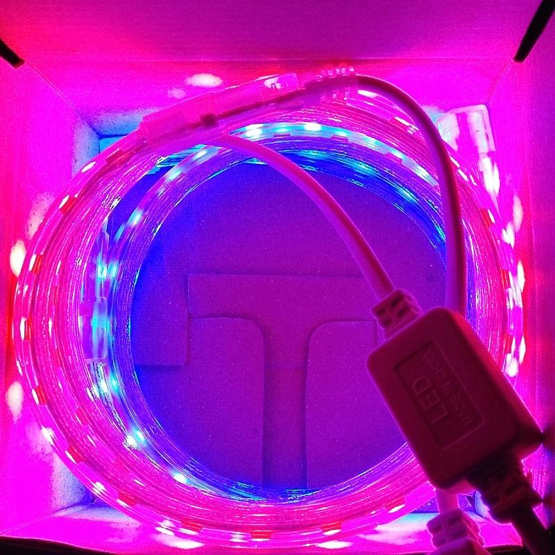 Светодиодные ленты полного спектра для выращивания, 220 В 5050 Чип 60 светодиодов/м для саженцев, Гидропонные растения, светодиодные лампы для в...