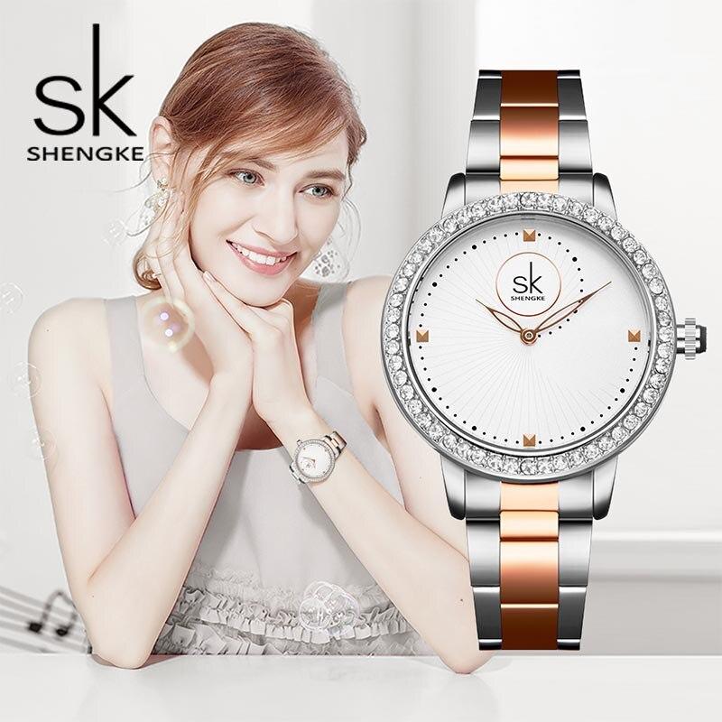 Shengke Luxury Quartz Watch Women Crystal Dial Ladies Bracelet Watches Reloj Mujer 2021 SK Wrist Montre Femme #K0075