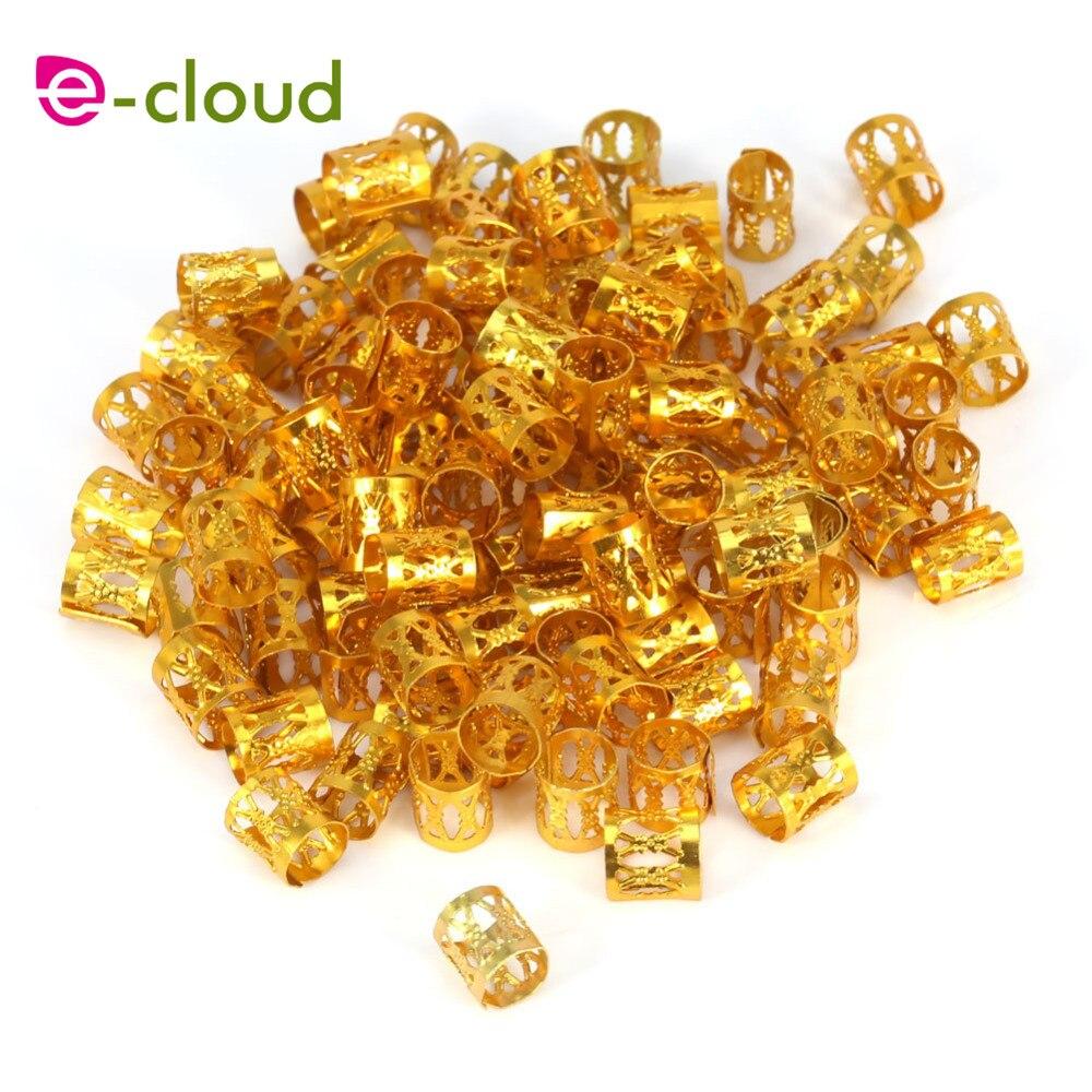Lote de 100 unids/lote de cuentas rastas ajustables plateadas y doradas, Clip de 8mm, Clip metálico, cerradura de tubo, envío gratis