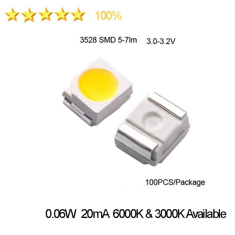 Diodos de TV LED SMD de alto brillo 1210 3528, 2835, 5-7LM, 3,0-3,2 V, blanco cálido, Corriente fría, 20mA, 0,06 W, envío gratis