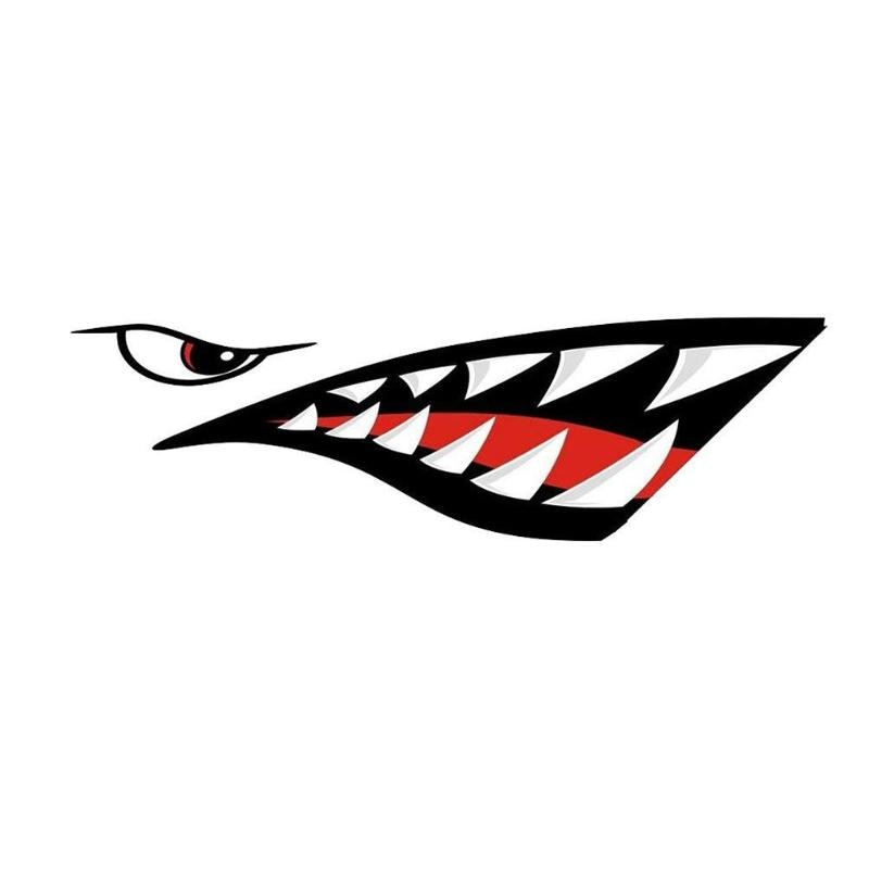 2pcs Waterproof Shark Teeth Fish Bones Vinyl Decal Sticker for Kayak Fishing Boat Car Graphics Funny Stickers