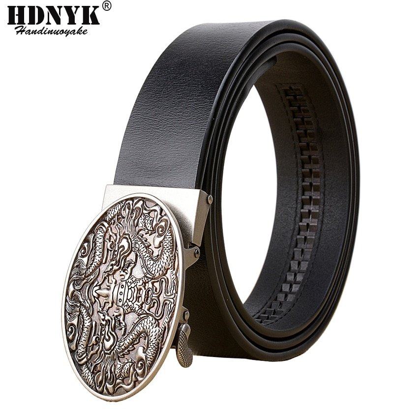 Factory Direct Brand Dragon Designer Belt High Quality Genuine Leather Men Belts Strap Male Retro  Automatic Buckle Belt for Men