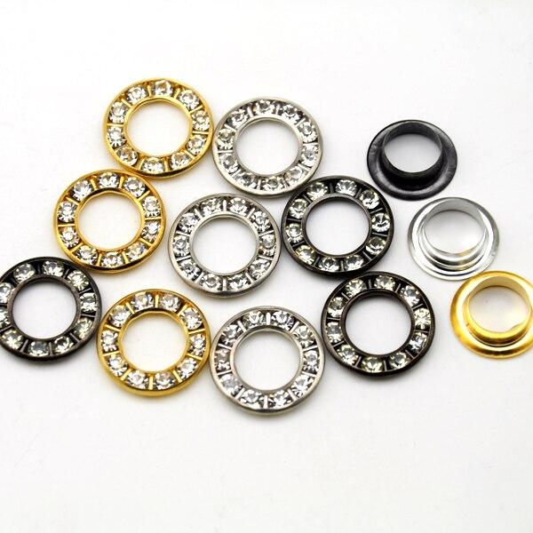 Juego de 120 ojales de Metal redondos de latón, ojales de diamante de imitación, ojales de cristal de diamante, ojales de cristal RE-17mm-001
